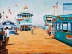 """""""Pleasure Pier, Catalina Island,"""" original oil by Val Carson"""